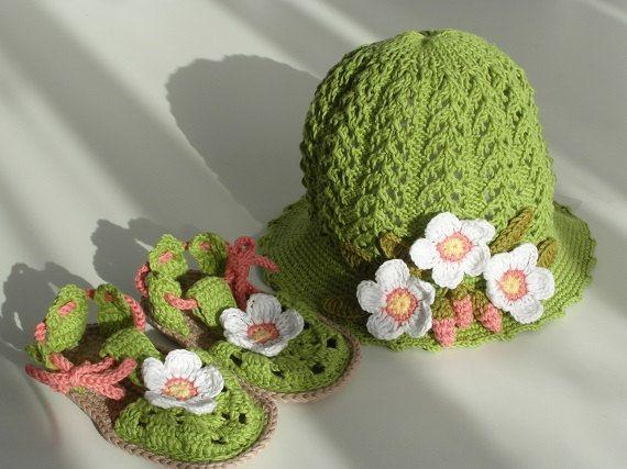 Toddler Hat and Sandals Set Toddler Flower Hat Toddler by Zazaiza, $39.00