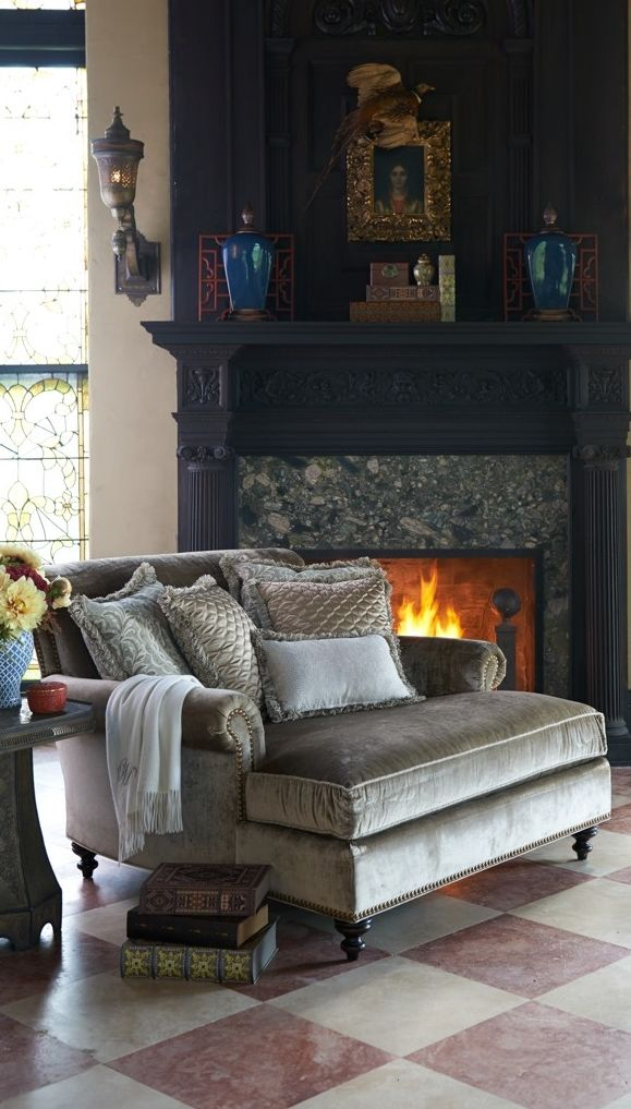 Frontgate loves cuddling by the fire… (add the Cybil Chaise lounge and your love story is complete)