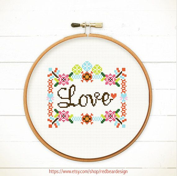Modern Cross stitch pattern PDF - LOVE in Floral Frame  - Xstitch Instant download - Funny Sweet, lovely, cute quote Floral, home sweet home