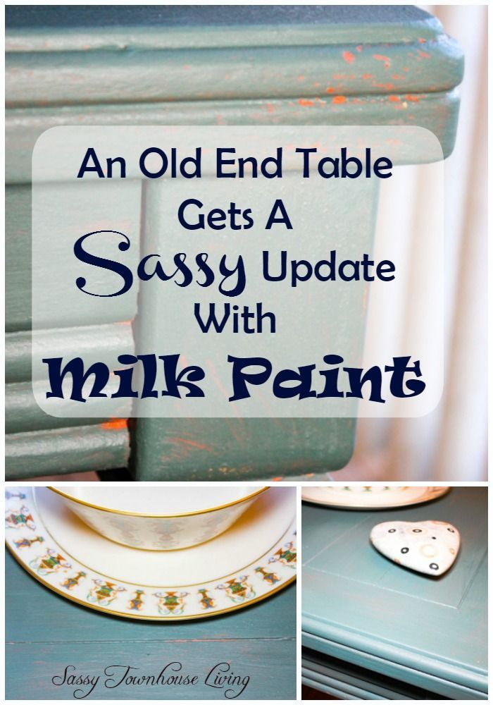 An Old End Table Gets A Sassy Update With Milk Paint - Sassy Townhouse Living #OFMP @OldFashionMilkPaint