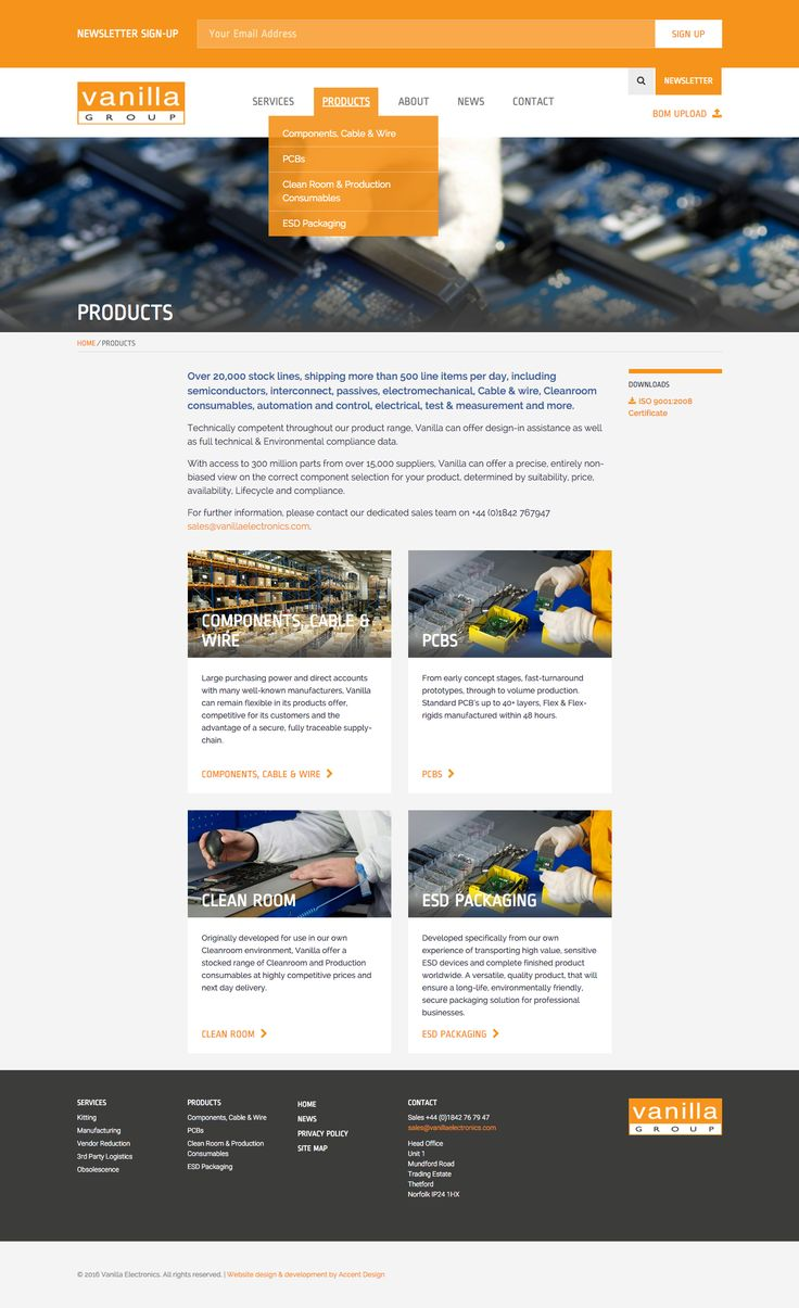 'Products' landing page with Newsletter Sign-up form and navigation bar on desktop