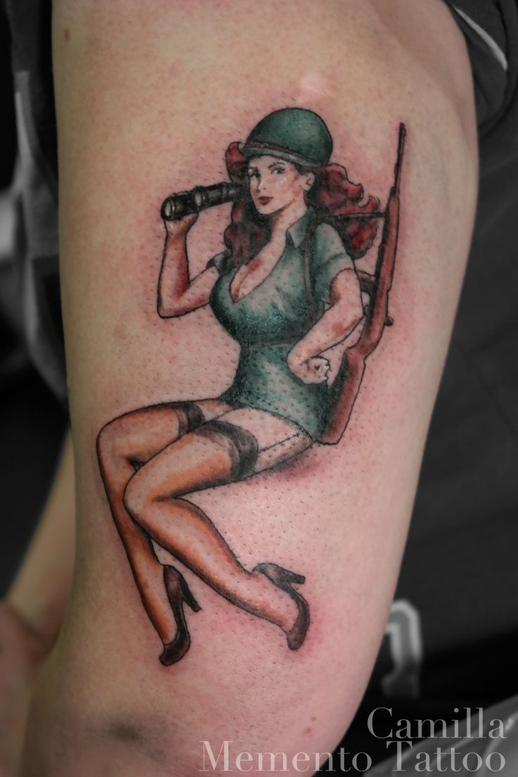 Color pin-up tattoo, military style!
