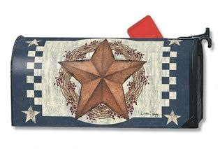 Blue Barn Star Magnetic Mailbox Cover