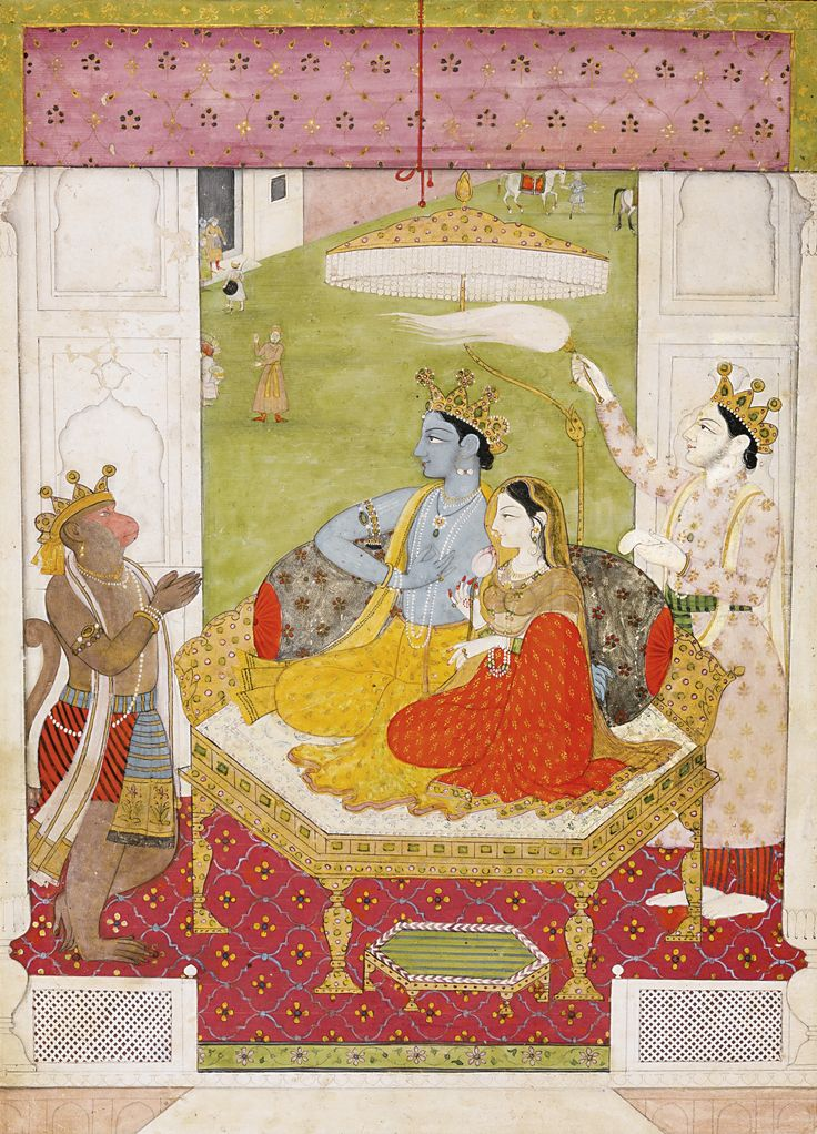 RAMA AND SITA ENTHRONED WITH LAKSHMANA AND HANUMAN, PAHARI, GULER, CIRCA 1800-15 gouache with gold on paper, narrow blue border decorated with gold foliate scrolls painting: 19.9 by 14.4cm. leaf: 21.2 by 15.7cm.