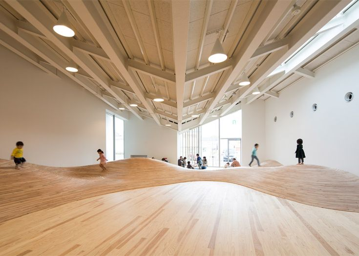 Community centre by Kengo Kuma has an undulating floor