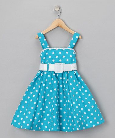 Take a look at this Turquoise Polka Dot Dress - Girls by Easter Boutique on #zulily today!