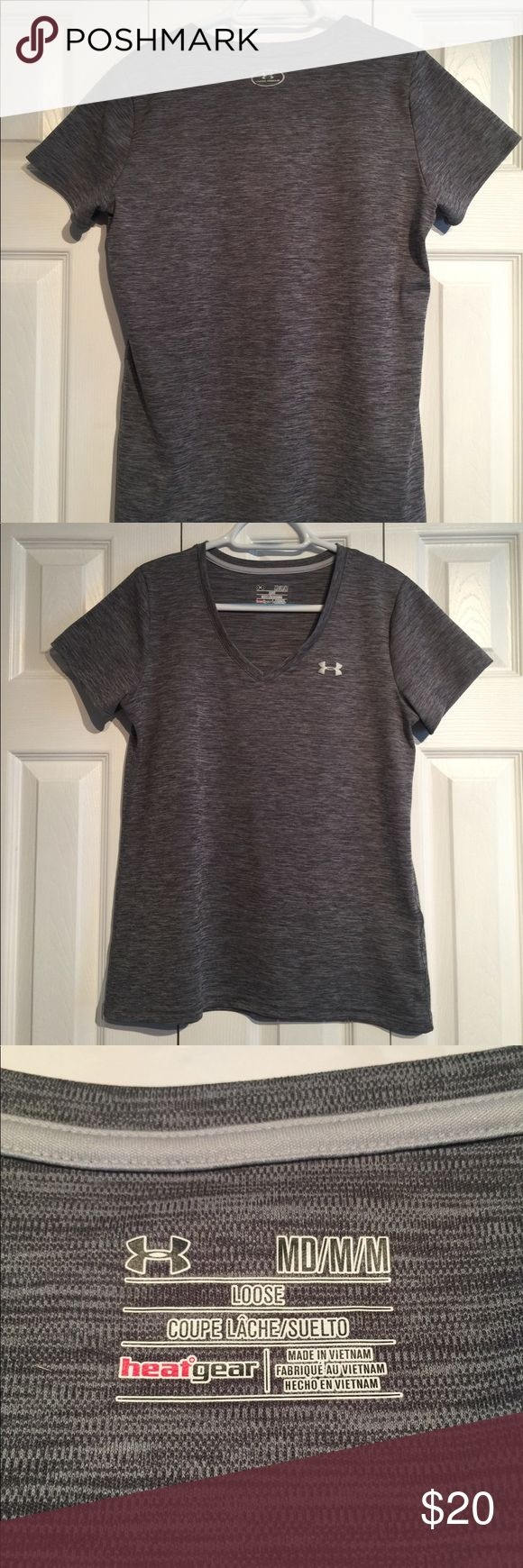 Women's Heatgear Loose Fit Shirt Black, v-neck. Heatgear. Care taw removed, but I wash under Armour clothes in cold water, permanent press cycle. Under Armour Tops Tees - Short Sleeve
