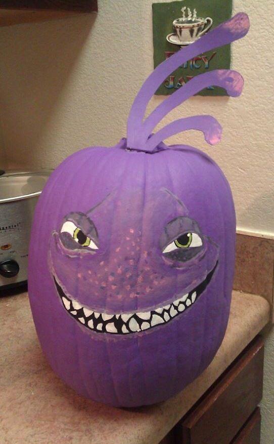 Monsters Inc. Randall pumpkin, painted using acrylic ...