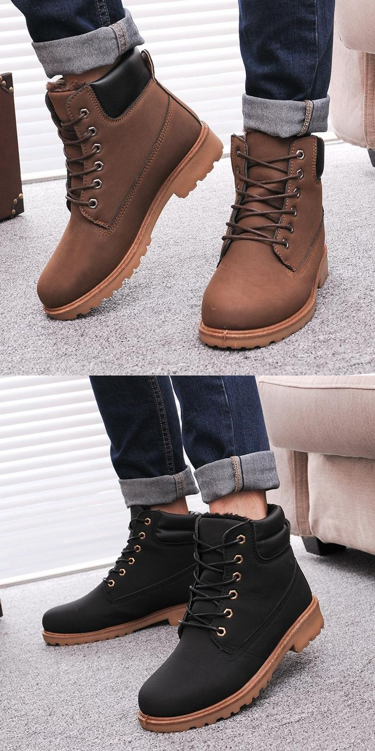 [Visit to Buy] Men Winter Boots 2016 new PU Leather men boots Hot Sell Plus cotton snow boots Warm Winter men shoes #Advertisement