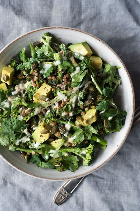 Raw Broccolini, Lentil and Tahini Salad 50g | 1/3 cup pepitas (or flaked almonds, other chopped nut) 80ml | 1/3 cup great tasting tahini*** 3 tbls lemon juice (about 1 lemon) 1 tbls maple syrup 1 tbls olive oil 500g broccolini 250g cooked lentils (choose Puy, beluga or Persian red) or 1 x 400g tin, drained and rinsed. 1/2 bunch | 1 handful of coriander leaves, chopped 1 ripe avocado, cubed