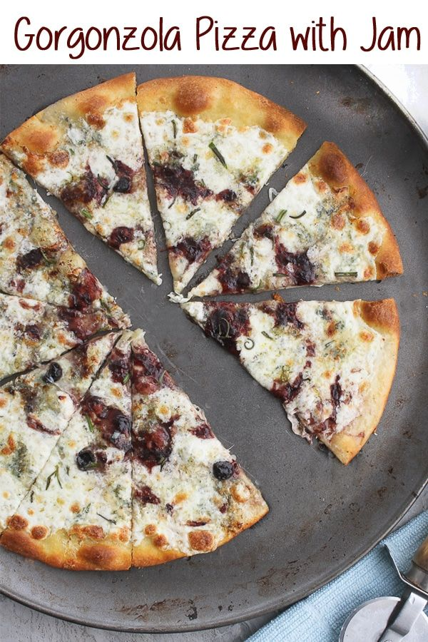 This easy Gorgonzola Pizza with Jam is a flavor-packed gourmet-style pizza!  It's topped with delicious gorgonzola and mozzarella cheeses, and finished with a jam drizzle. #pizza #gorgonzola #vegetarian #recipe via @champagneta0249