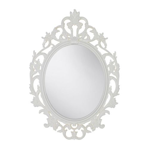IKEA - VIKERSUND, Mirror, oval/white, , Can be used in high humidity areas.Safety film reduces damage if glass is broken.