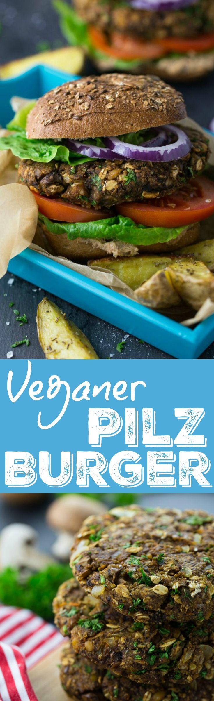 Vegane Pilz Burger aus Champignons, Kichererbsen, Haferflocken und Petersilie. Nicht nur unglaublich lecker, sondern auch noch richtig gesund!