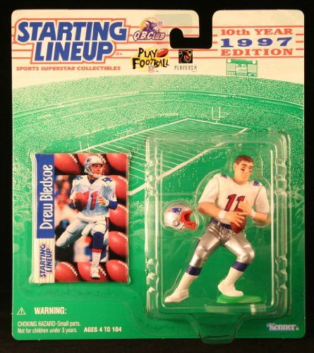 DREW BLEDSOE / NEW ENGLAND PATRIOTS 1997 NFL Starting Lineup Action Figure & Exclusive NFL Collector Trading Card