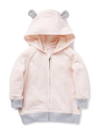 100% Cotton Hoodie. Slub french terry, zip-though hoodie, with ears. Features all-over jaquard spot. 1x1 rib trims on cuffs and hem with flatlock topstitch throughout. Regular fitting silhouette. Avaialable in Marshmallow Marle.