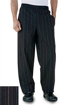 Uncommon Threads Baggy Chef Pants - Red & White Pinstripe