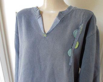 Appliqued Felpa donna, lavato Sweatshirt Navy, Design semplice felpa, felpa tinti di pigmento, alterato Sweatshirt