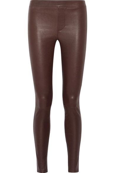 Burgundy stretch-leather Pull on 100% leather (Lamb); pocket lining: 100% cotton Specialist clean Imported