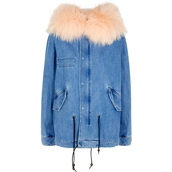 Mr & Mrs Italy Fur-trimmed Denim Parka - Size XS (£1,460) ❤ liked on Polyvore featuring outerwear, coats, fur trim coat, blue coat, denim coat, blue parka and blue parka coat