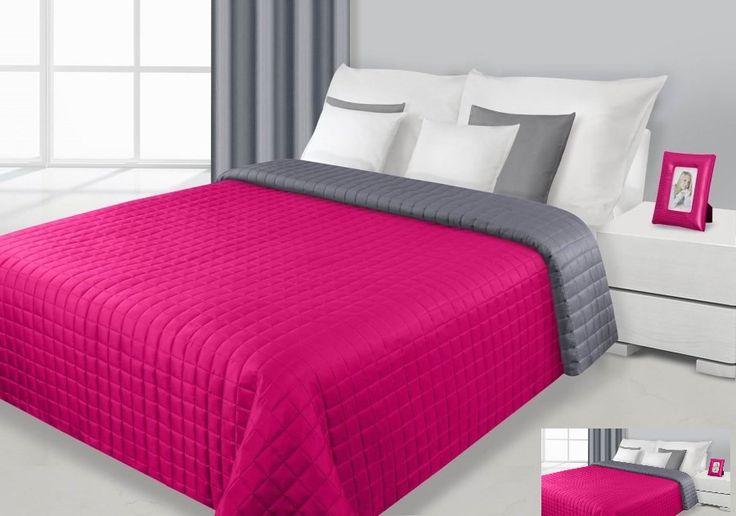Narzuty dwustronne w kolorze amarantowo szarym na łóżko