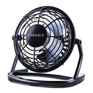 E-PRANCE Mini Ventilateur USB de Bureau silencieux Portable Mini Fan 4″ 360°Compatible pour PC ordinateur portable Noir