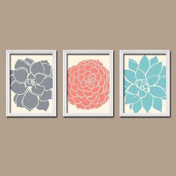 Grey Coral Aqua Flower Burst Dahlia Bloom Petals Artwork Set of 3 Trio Prints WALL Decor Abstract ART Picture Bathroom Bedroom on Etsy, $26.84 CAD