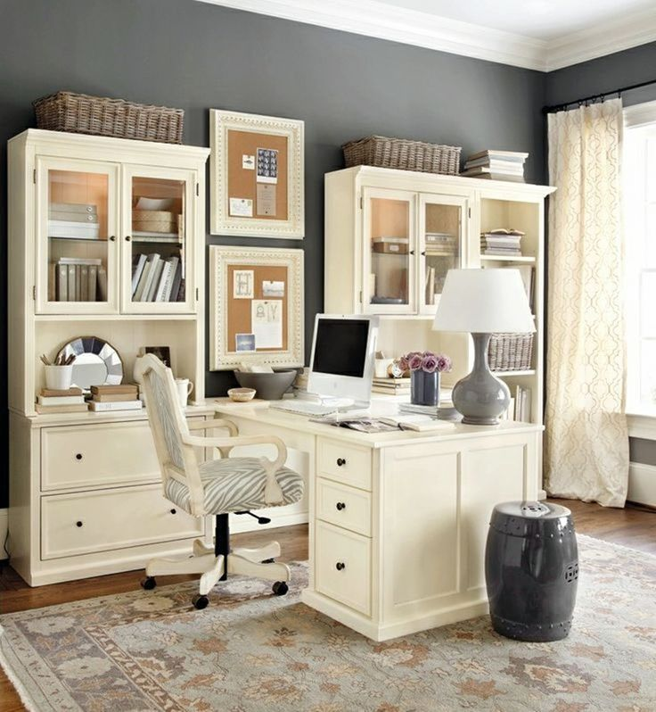 feminine office decor | Office Workspace Spacious Working Room Organization Decoration Decor ...