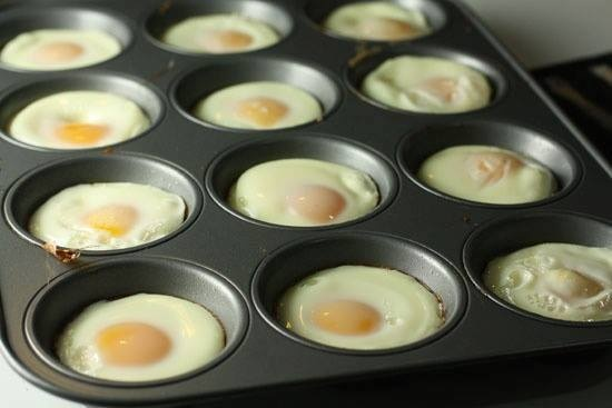 Perfectly cooked, shaped eggs - and you can bake a whole lot simultaneously: Just grab a muffin tin and and very lightly oil each spot in the tin with either butter or spray oil. Then crack an egg in each muffin area! Stick these in a 350 degree oven for about 15-20 minutes. Put on a English muffin, with a lil cheese or ham, bacon or sausage. Find more recipes at https://www.facebook.com/groups/thinwithinsupportgroup/