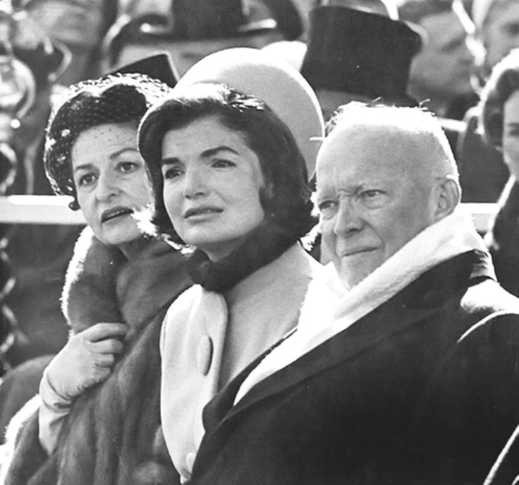 The new First Lady Jacqueline Kennedy, President Eisenhower and Vice-President Johnson's wife Lady Bird Johnson bear the cold and listen intently to the now infamous 'Ask Not' inaugural speech of the newly inaugurated President John F. Kennedy ~ Jan 20th, 1961. ♡❤❤❤♡❤♡❤❤❤♡ http://www.jfklibrary.org/Asset-Viewer/BqXIEM9F4024ntFl7SVAjA.aspx