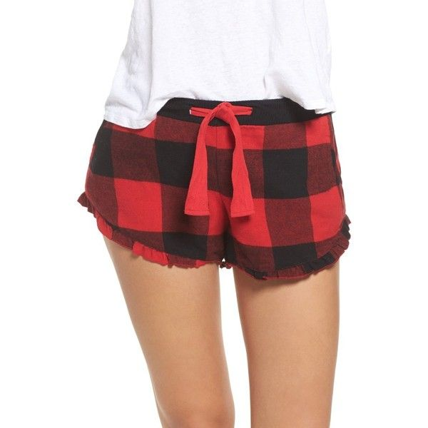 Women's Make + Model Ruffle Flannel Lounge Shorts ($29) ❤ liked on Polyvore featuring shorts, red pepper best buffalo, tartan shorts, red shorts, ruffle trim shorts, flounce shorts and frill shorts