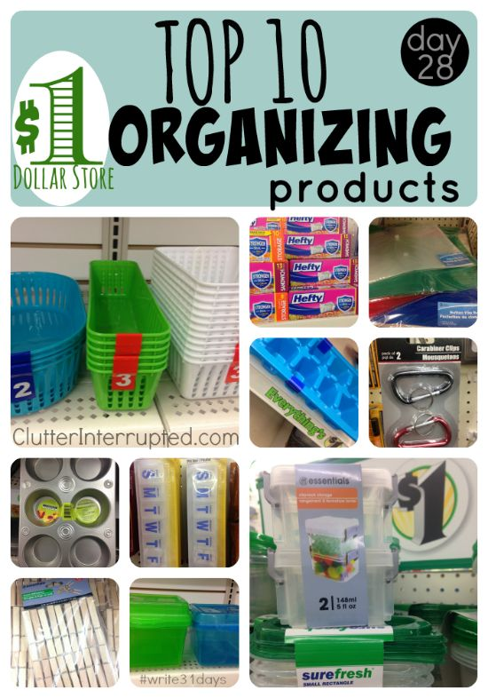 When you use organizing products from THE DOLLAR STORE you know your decluttering project won't cost an arm and a leg. Grab a cart, a $10 bill, and our list. Use what you buy to organize some neglected spaces in your home today!