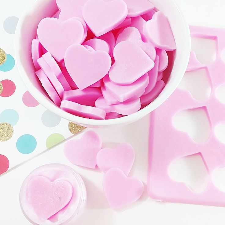 Will you be my Valentine if I send you soap? Topping off our sugar scrub soaps with little pink glycerin soap hearts. #valentinesday #valentineideas #soaps #artisansoap #beauty #skincare