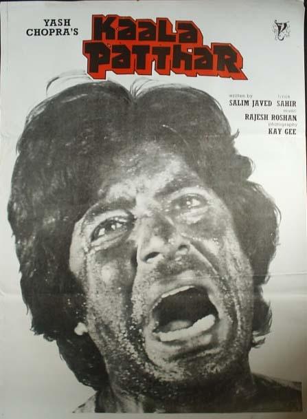 Kaala Patthar (1979), Amitabh Bachchan, Classic, Indian, Bollywood, Hindi, Movies, Posters, Hand Painted