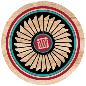 """Southwest Spirit Coasters - """"Indian Feather"""". Desert Canyon Gifts presents a variety of Southwestern Themed Beverage Coasters. Everything from cactus images to kokopelli, geckos, pottery, etc. These sandstone coasters are great accents to your Southwest Decor or simply purchase for a gift for any occasion. Made from natural sandstone - cork backing. 4"""" diameter. Set of 4 - $19.99"""