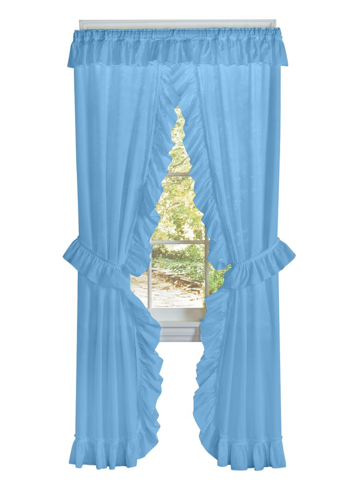 Brighten any room with these classic, ruffled tie-back curtains - ready to hang in minutes. Set includes two panels with attached valance and two matching tiebacks. Traditional style matches any dÅcor. Install on any standard curtain rod. 1 1/2&34; rod pockets. Soft polyester/cotton. Machine wash and dry. Imported.