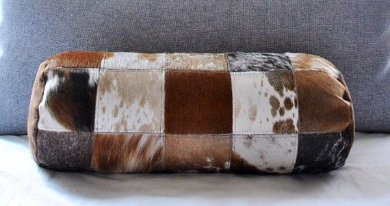 Cowhide Bolster Patchwork Pillows  18 Gorgeous Cow Hide