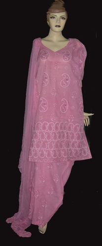 Powder Pink Embrpodery Ethnic Indian Women Salwar Kameez Plus 3X