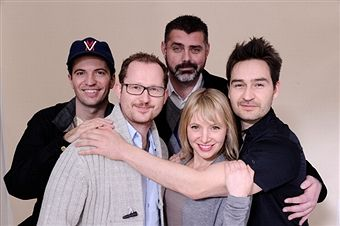 Filmmaker Derek Franson, producer Andrew Webster, actress Victoria Bidewell, producer Justin James and actor Tygh Runyan pose for a portrait during the 2012 Sundance Film Festival at the Getty Images Portrait Studio at T-Mobile Village at the Lift on January 23, 2012 in Park City, Utah.