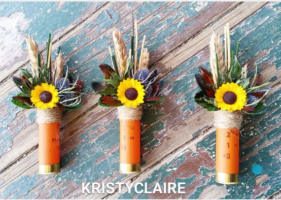 Orange Shotgun Shell Sunflower Boutonniere by KRISTYCLAIRE on Etsy #wedding #boutonniere #buttonhole #lapel #hunting #huntingwedding #masculine #camouflage #camouflagewedding #rustic #rusticwedding #countrytheme #countrywedding #country #countrychic #chicboutonniere #groomsmen #groom #ushers #ringboy #cowboywedding #cowboy #orange #orangeshotgunshell #orangewedding #shotgunshells #sunflower #sunflowers #sunflowerboutonniere #sunflowerwedding #wildflowerwedding #shotgunshellsunflower