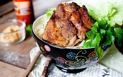 Vietnamese pork with rice noodles