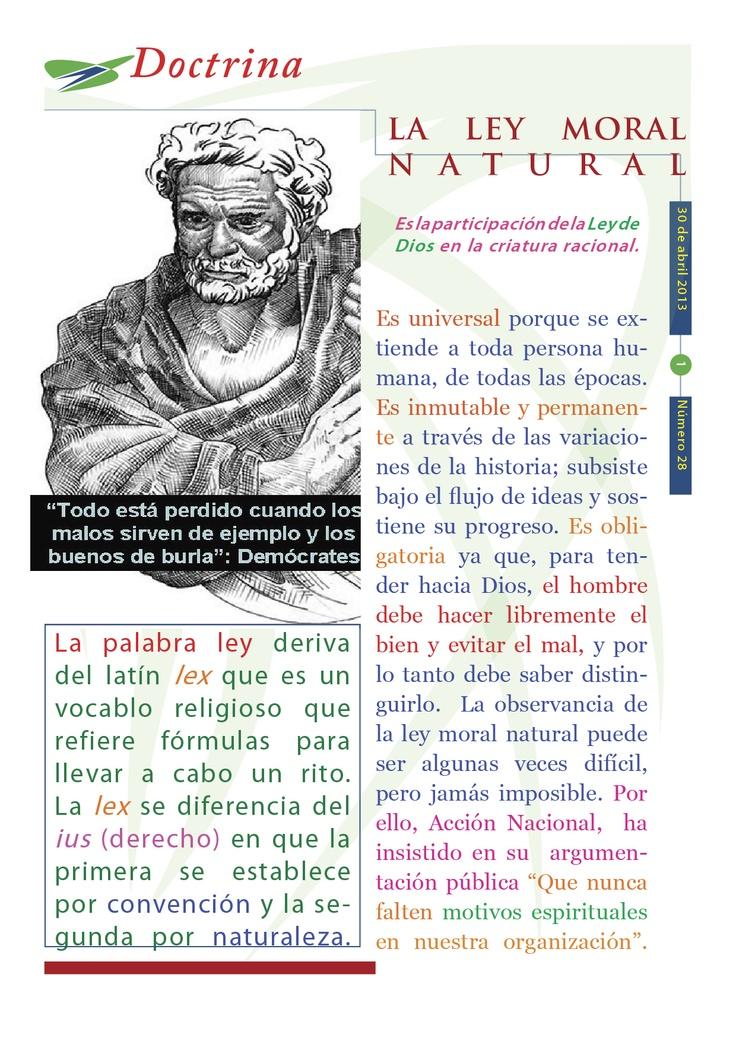 """Cápsula doctrinal del Humanismo Político número 28, editada por el CDE del PAN en Morelos, con el tema: """"La ley moral natural""""."""
