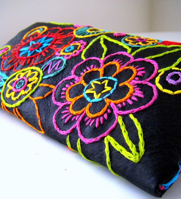 So Pretty. Hand embroidered Carnival Clutch.