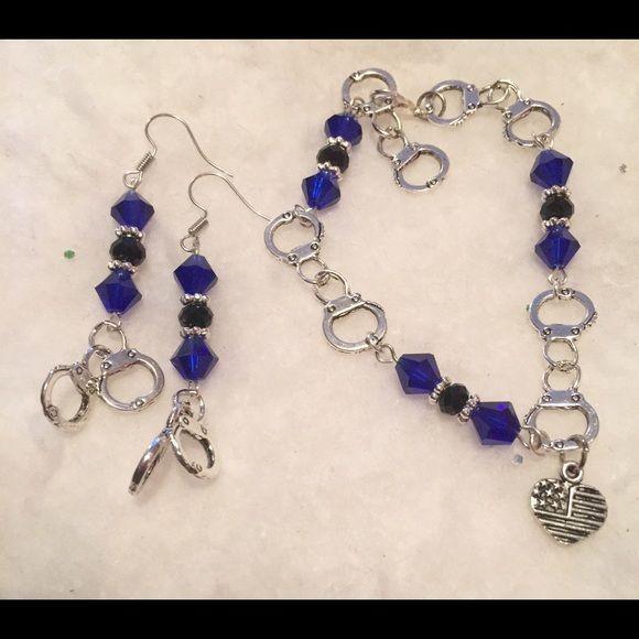 Clearance! Handcuffed bracelet and earrings set Thin blue line theme Jewelry Bracelets