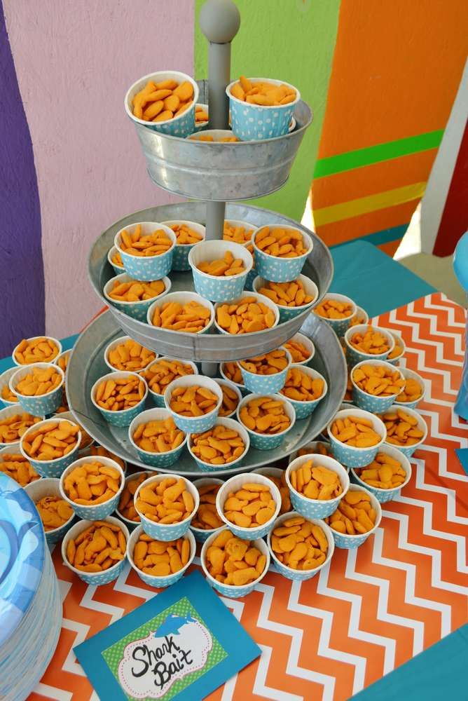 Sharks and surfing birthday party food! See more party planning ideas at CatchMyParty.com!