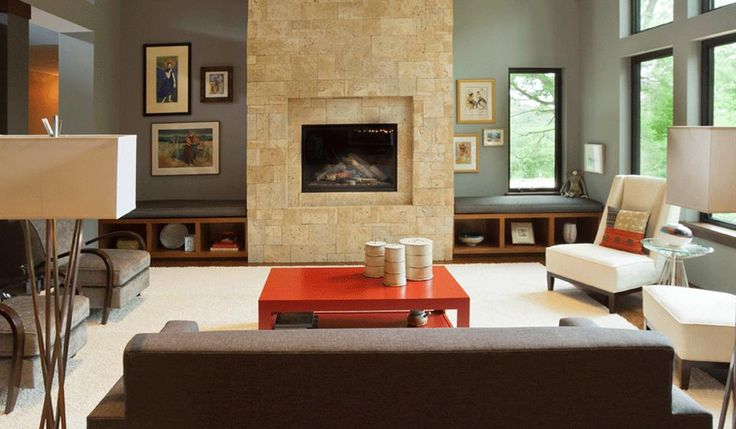 Contemporary Living Room With Stone Fireplace Blue Gray