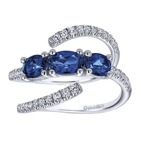 Gabriel NY | Diamond fashion ring with three oval sapphires