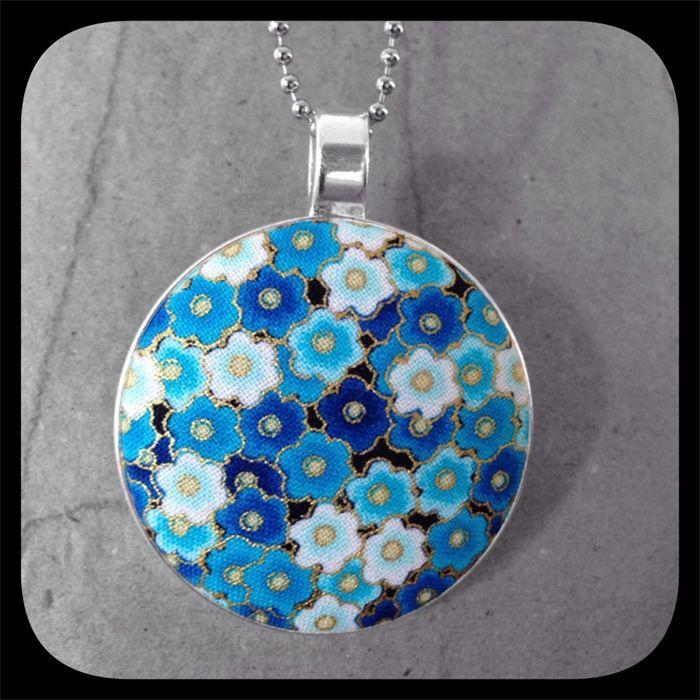Kon-iro Sakura (Deep Blue Blossom): Large Bezel Set Pendant.  www.madeit.com.au/YouPlusMeAndMissLilyMakesThree