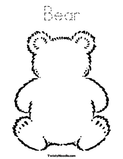 B: Blank Teddy Bear Coloring Page