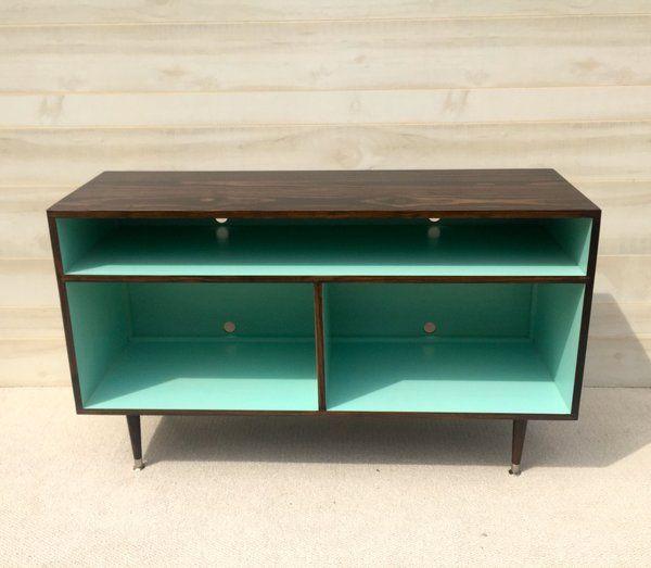 Mid Century Modern Record Cabinet Mid Century Modern TV Stand | Tiny Lions Designs Mid Century Modern Handmade Furniture Art