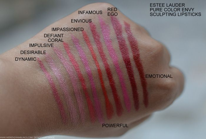 Estee Lauder Pure Color Envy Sculpting Lipsticks Dynamic Desirable Impulsive Defiant Coral Powerful Impassioned Envious Infamous Red Ego Emotional Swatches Indian Beauty Makeup Blog